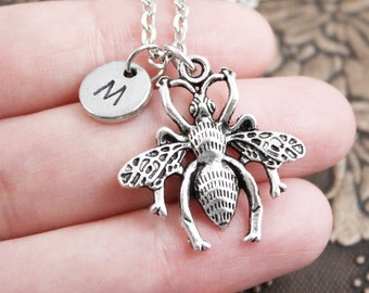 Personalized Bee Necklace, Initial Necklace, Wasp Necklace, Honey bee Pendant Necklace, Wasp Charm, Monogram Necklace, Insect Jewelry