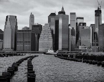 Manhattan Skyline, New York City, New York, Black and White, Sepia, Cityscape, East River - Travel Photography, Print, Wall Art