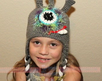 Made To Order: One eyed monster alien crochet earflap beanie all colors and sizes available