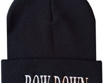 BOW DOWN Cuffed Beanie  Cap Hip Hop Hat Black/White