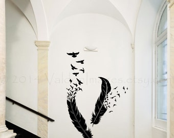Birds Of A Feather Wall Decal, Bird Wall Decal, Boho Wall Decal,bedroom Part 39