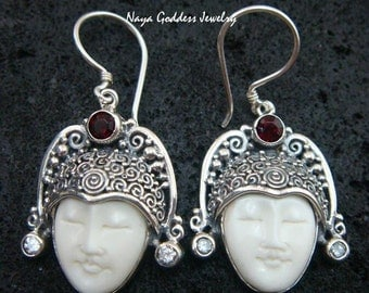 Sterling Silver & Garnet Naya Goddess Earrings NG-910