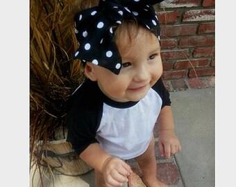 Polkadot tied turban-black and white baby turban-tied girls turban-dot adult turban-polkadot headwrap-girls headwrap