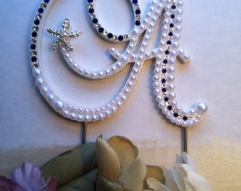 "Wedding Cake Topper Pearl Monogram Cake Topper w/ Swarovski Crystals Letter A Destination Wedding ""Seaside"" design  Any Letter A to Z"