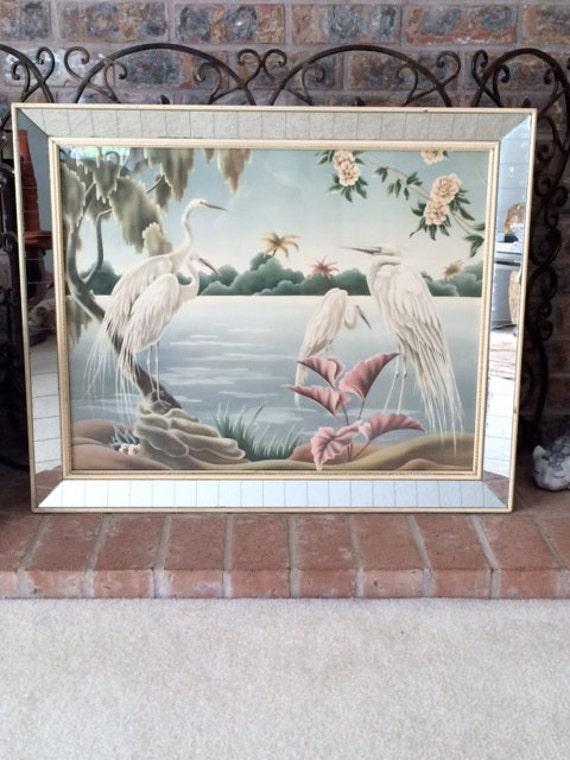 Vintage Art Deco Mirrored Turner Egret Wall Art