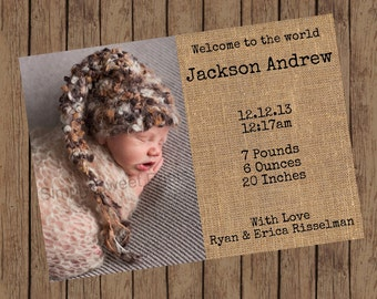 Burlap Birth Announcement (5x7)
