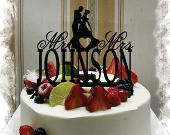 Silhouette  Cake Topper , Monogram Cake Topper Mr and Mrs  With Your Last (Family)Name  - Handmade Custom Wedding Cake Topper