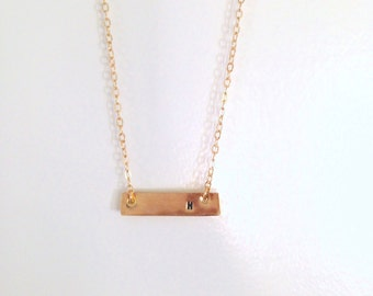 Single Initial Bar, Gold Bar necklace, Initial Necklace, Custom Initial, Gold Bar