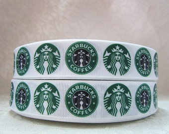 Starbucks Ribbon 7/8 Inch Grosgrain Ribbon by the Yard for Hairbows, Scrapbooking, and More!!