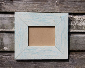 Rustic Wooden Frame. Blue and White. Made from Reclaimed Wood.