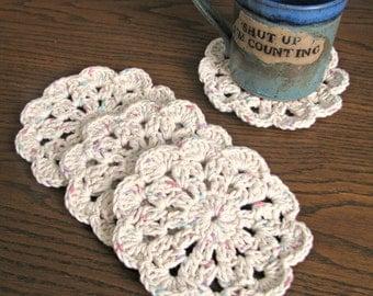 Natural Fleck : Crochet Cotton Coasters, set of 4