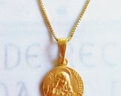 Necklace - Saint Mary Magdalene & Her Crucifix - 18K Gold Vermeil