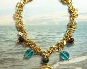 Bracelet - Sea of Galilee Mary Magdalene Charm - Czech Glass, Genuine Ruby, 18K Gold Vermeil