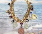 Bracelet - Sea of Galilee Fish Mary Magdalene Charm - Ruby, Citrine, Pearl, Czech Glass, Crystal, 18K Gold Vermeil
