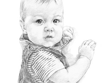 Custom pencil portrait drawing from photo. by professional artist Margaret Scanlan. Baby - child - adult - pet