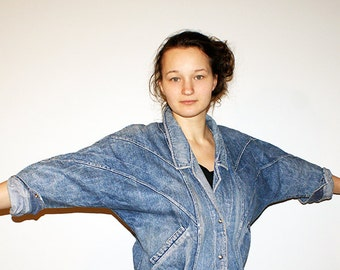 Vintage Denim Jacket Acid Wash Faded Jean Jacket