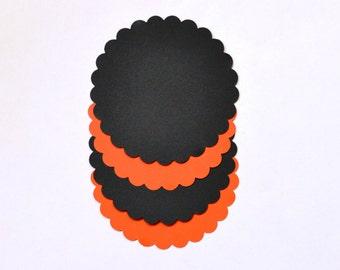 Orange Scallop Die Cuts - Black Scallop Die Cuts - Halloween scallops - Orange scallops - Black Scallops - Halloween - Scallop Die Cuts
