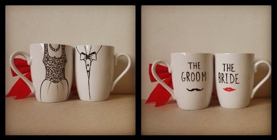 A set of 2 Mugs - Hand painted white ceramic coffee mugs // Groom and Bride //