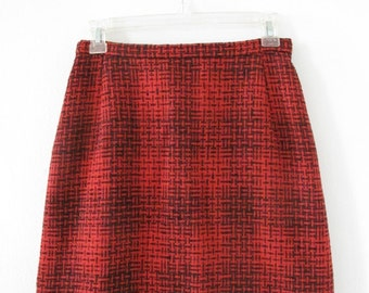Vintage Red & Black Wool Mini-Skirt