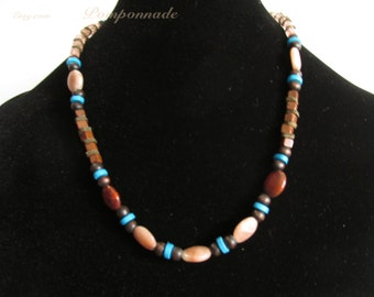 3010 -Necklace, Jasper, Wood