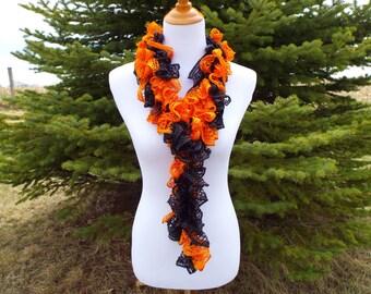 Orange and black Ruffle scarf - Halloween accessory - Cincinnati Bengals Colors - Costumes - Boa
