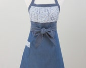 Women's Apron, Reversible, Gathered Bodice, Blue Denim and Flowered, Polka Dots, 100% Cotton