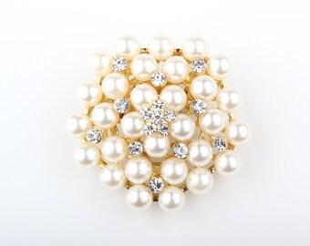 Pearl Rhinestone Wedding Gold Brooch Pin, Wholesales DIY Wedding Brooch Bouquet Lot Gift Embellishment