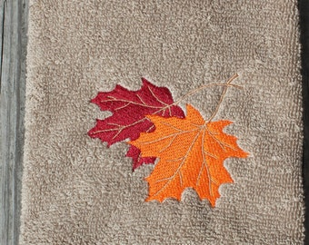 Embroidered Fall  Leaf  Hand Towel-  Red and Orange  Autumn maple leaves