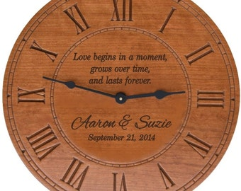 Love Begins in a Moment Round Cherry Finish Wall Clock with Personalization for Wedding Gift,  Anniversary Gift, or a New Home