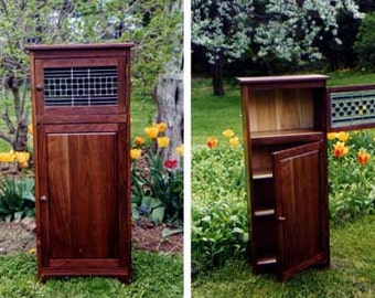 Handmade Walnut Cabinet with Stained Glass, Brass Piano Hinge, Wood, Custom, Made-to-order, Pine Cherry, Storage, Fine Furniture, Home