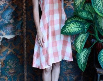 Satin Checkard Print Dress ~Size Small to Medium