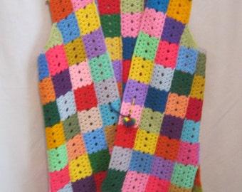 "Vintage 60s 70s PATCHWORK Granny Squares SWEATER Vest Crochet HIPPIE Boho Handmade Bust:46"""