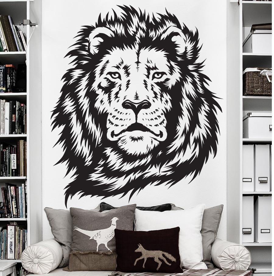 africa lion wall decal art sticker decor jungle animal vinyl. Black Bedroom Furniture Sets. Home Design Ideas