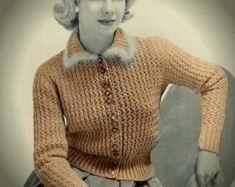 Marvelous! Knit Sweater Pattern, Fur Collar Cardigan