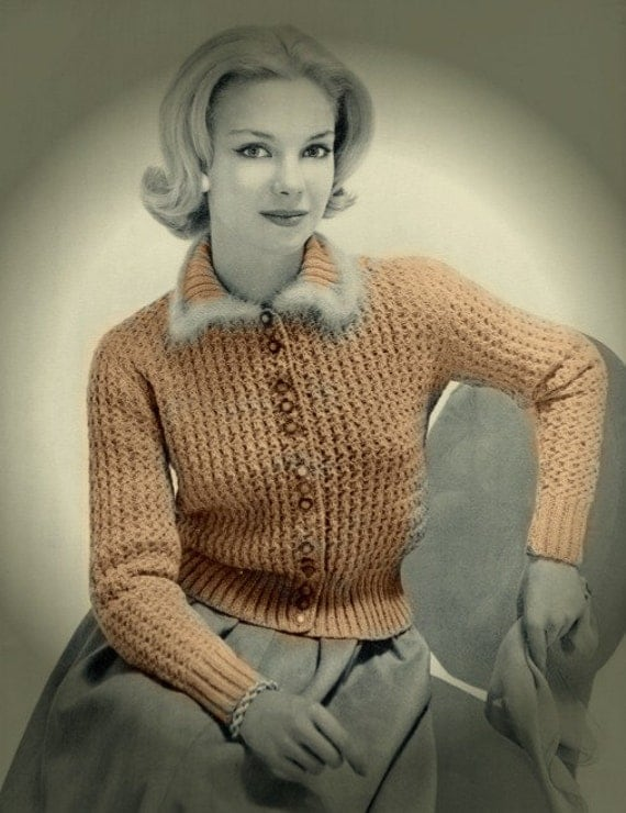 Knitting Pattern Sweater With Collar : Marvelous Knit Sweater Pattern Fur Collar Cardigan