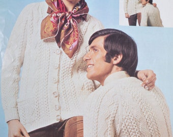 PDF mens womens aran cable  cardigan jacket sizes 34 to 44 inches vintage knitting pattern pdf download sweater pattern only pdf 1970s