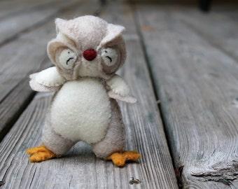 Owl Toy- Felt Owl Toy- Baby Owl -Tati Woodland Baby Owl-  Handmade Tan Owl