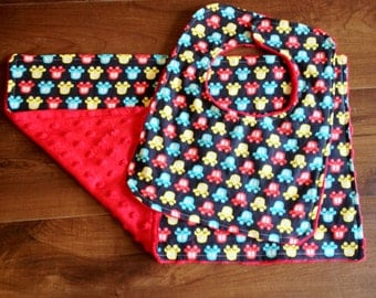 Cars Minky Bib and Burp Cloth Set, Baby Gift Set