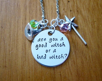 Good Witch/Bad Witch Halloween Necklace. Are you a good witch or a bad witch? Witch Hat, Magic Wand. Hand stamped. *