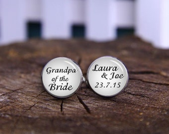 custom date cufflinks, grandpa of the bride cuff links, Silver Plated Gifts for Dad, Wedding Cufflinks, Groom Cufflinks, Wedding Date gifts