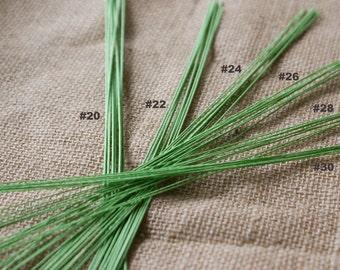 Green Floral Wires - Gauge # 20 - # 22 - # 24 - # 26 - # 28 - # 30 - 20 pcs