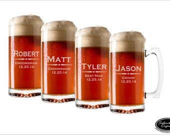 FOUR Custom Beer Mugs, 25 oz or 12 oz, Personalized Beer Glasses , Engraved Beer Mugs, Etched Beer Glasses, Groomsmen Gifts, Wedding Favors