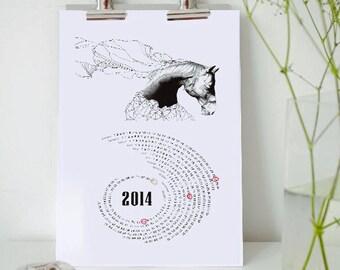 Free Printable Calendar for 2015 and 2016, Black and White Calendar, Horse Contemporary Art Print, Desk Calendar