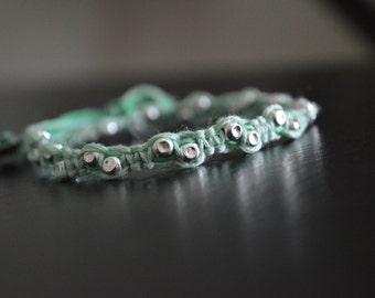 Seafoam Green Studded Woven Bead Bracelet