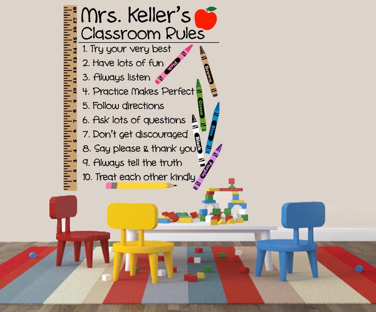 Classroom Wall Design For Elementary ~ Classroom rules wall decal elementary school teacher