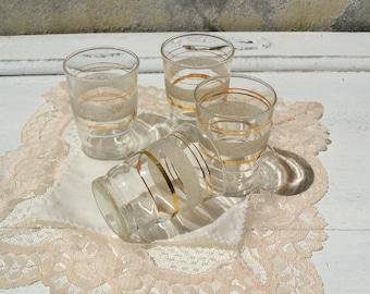 Vintage shot glass set, vintage glasses with gold, vintage glassware, golden glassware, small vintage glasses set