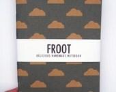 Cloud Pattern Blue Notebook Journal Kraft A5 Handmade Recycled
