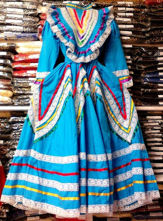 Womens Jalisco Dress With Super Wide Skirt Flow Folklorico Dance Handmade