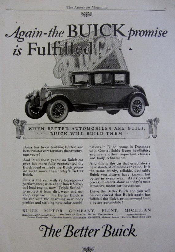 1925 Buick Motor Company Automobile Vintage Advertisement