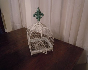 78 - Bird Cage - Wire - Metal - Heirloom White and Teal - Fleur De Lis - Ornate